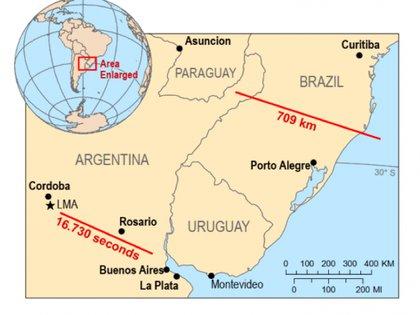 El mapa con el registro del rayo de mayor duración, en Argentina, y el de mayor extensión horizontal, en Brasil (Organización Meteorológica Mundial).
