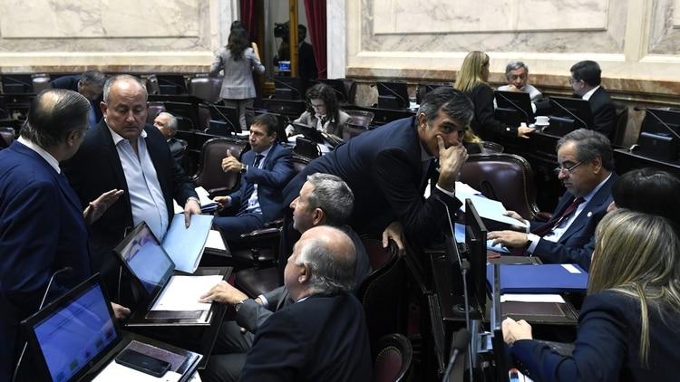 Parte del bloque oficialista durante el debate (Foto: NA)