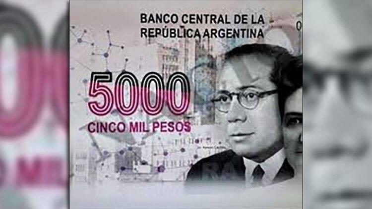 Carrillo en uno de los diseños del billete de 5.000 pesos