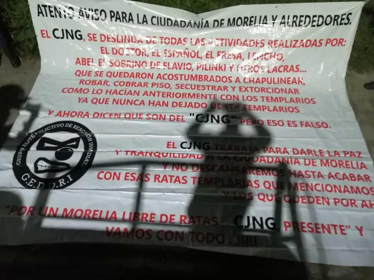Las tenebrosas narcomantas en Morelia que advierten una disputa entre el Cártel de Jalisco Nueva Generación y grupos criminales locales