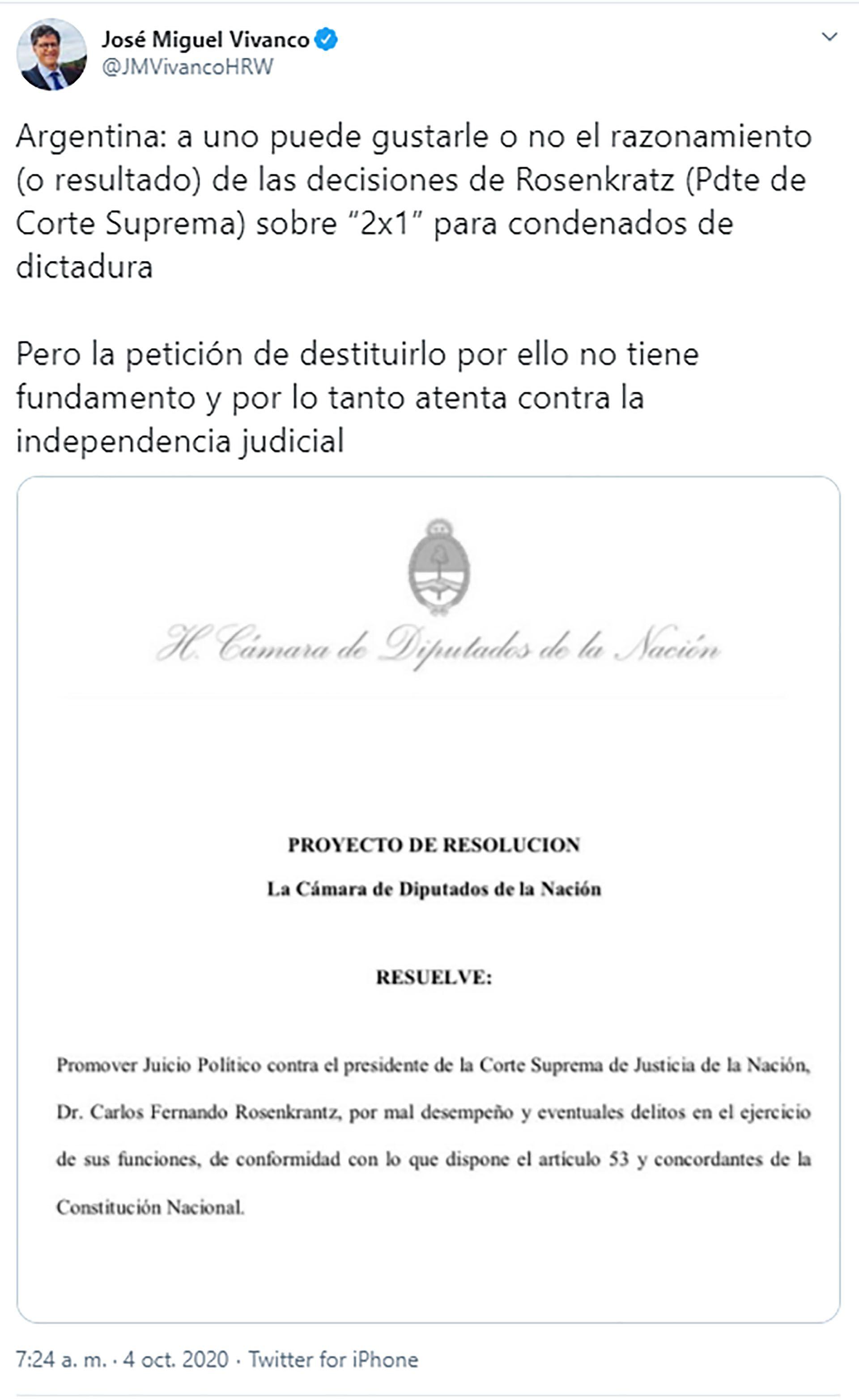 José Miguel Vivanco tuit