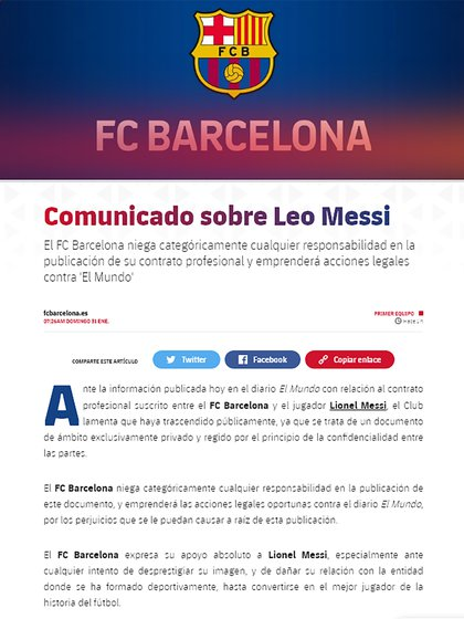 El comunicado del FC Barcelona tras la publicación del periódico español