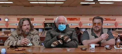 "Bernie Sanders enters Jeffrey ""The Dude"" Lebowski (Jeff Bridges) and Walter Sobchak (John Goodman), characters from the movie The Big Lebowski."