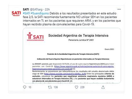 La publicación de la SATI en Twitter