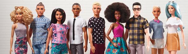 Ken y Barbie 'Fashionistas', una de las líneas de Mattel y Barbie que cuenta con más de 100 modelos de muñecas dónde la inclusión y la diversidad son un gran factor para la compañía (Barbie/Mattel)