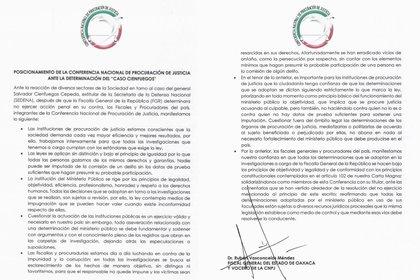 La CNPJ FUE creada en 2009 y su presidencia recae en el fiscal Gertz Manero (Foto: Facebook@FiscaliaGeneralSinaloa)