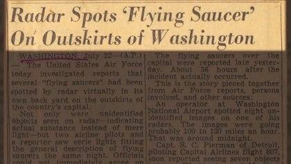 Un cable de la agencia de noticias Associated Press se refiere a otro avistaje de un objeto volador no identificado
