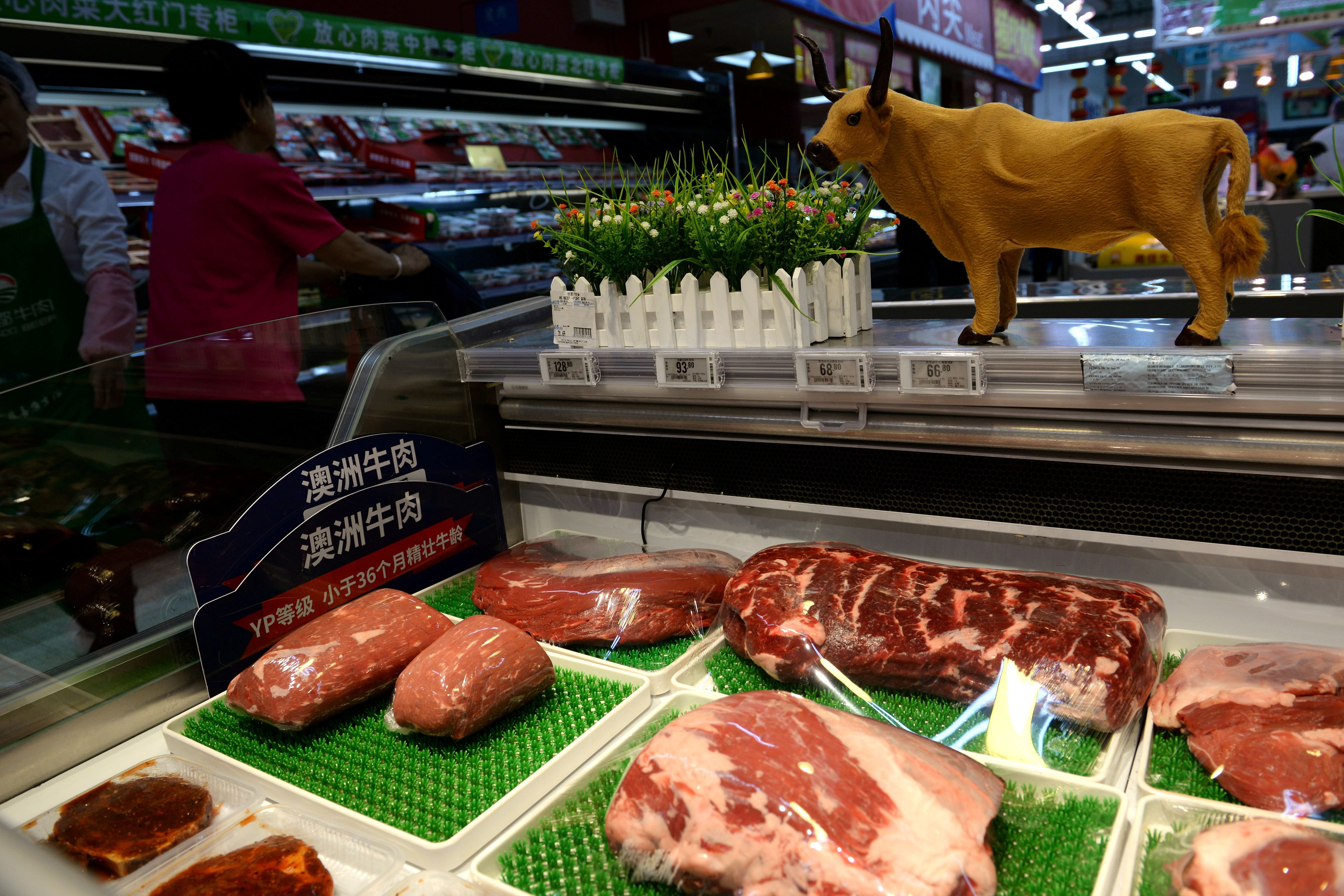 FILE PHOTO: Beef for sale is seen at a Walmart in Beijing, China, September 23, 2019. Picture taken September 23, 2019. REUTERS/Tingshu Wang/File Photo