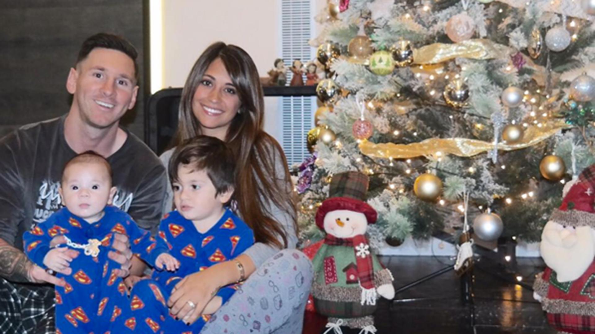 Una foto habitual en la Navidad de los Messi