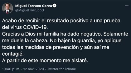 Su hijo también resultó contagiado en las últimas 24 horas (Foto: Twitter@MiguelTorrucoG)