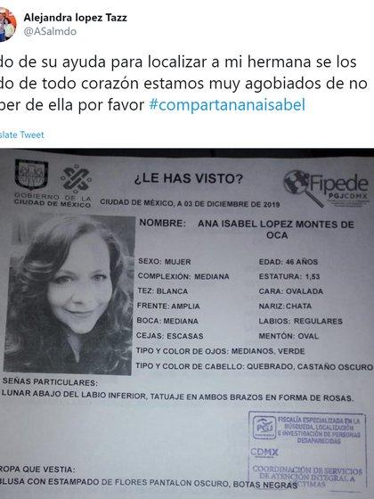 Ana Isabel fue buscada por redes sociales y calles (Foto: Twitter)