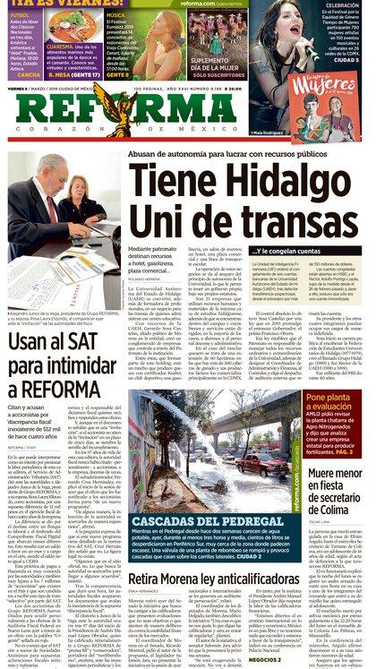 El diario Reforma denunció intimidación del SAT. (Foto: Reforma.com)