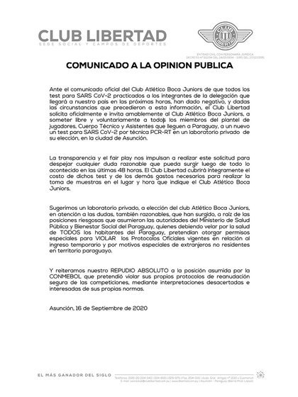 El nuevo comunicado de Libertad de Paraguay
