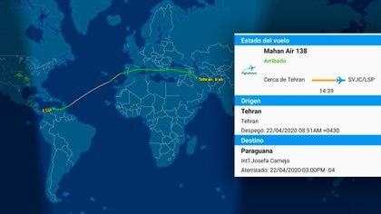 El recorrido del avión que viajó desde Irán hasta Venezuela este miércoles