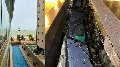 La comparación entre el antes y después (foto: Defensa Civil de Vila Velha)