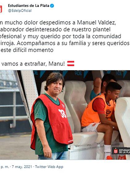 El posteo de Estudiantes sobre la muerte del Brujo Manuel