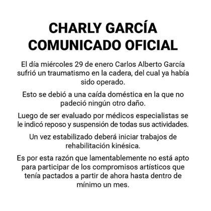 El comunicado oficial sobre la salud de Charly García (Instagram)