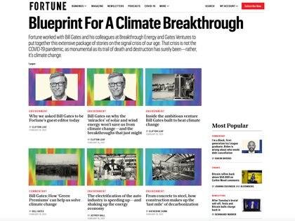 La edición especial de Fortune realizada por Bill Gates aborda distintos temas, desde el regreso de Estados Unidos al Acuerdo Climático de París hasta la electrificación de la industria automotriz o el liderazgo futuro del activismo por el planeta.