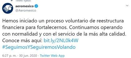 La compañía aérea comunicó su estrategia de recuperación ante la crisis por COVID-19 (Foto: Twitter / @Aeromexico)