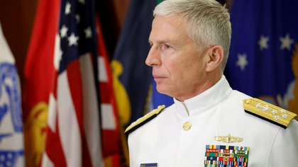 FILE PHOTO: FILE PHOTO: Commander of the U.S. Southern Command Admiral Craig S. Faller pauses as he talks to the media after an agreement signing ceremony, in Miami, Florida, U.S., March 8, 2020. REUTERS/Marco Bello/File Photo