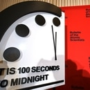 The Doomsday Clock reads 100 seconds to midnight, a decision made by The Bulletin of Atomic Scientists, during an announcement at the National Press Club in Washington, DC on January 23, 2020. - President and CEO of the non-profit group Rachel Bronson said