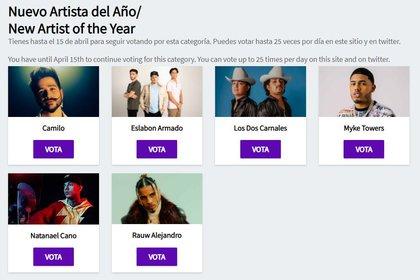 Así es como se puede votar en los premios Latin AMAs (Foto: captura de pantalla/telemundo.com)