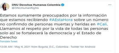 Pronunciamiento ONU Derechos Humanos Colombia con respecto a la situación en Siloé Cali