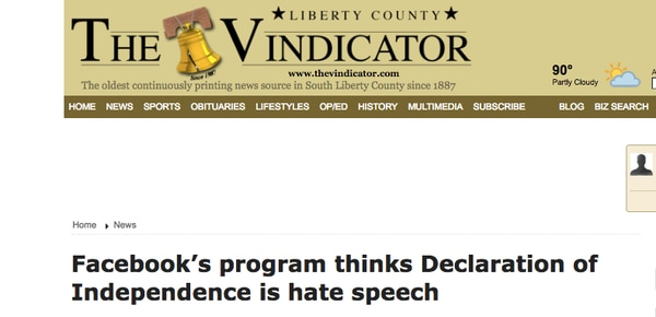 The Vindicator, el periódico del condado de Liberty, Texas,consideróel episodio â??estúpidoâ?.