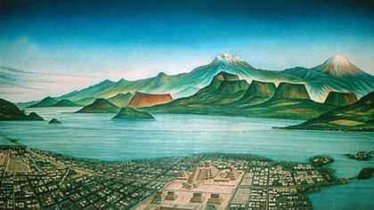El antiguo Lago de Texcoco, donde se originó el mito de la mujer que lloraba por sus hijos (Imagen: Pinterest)