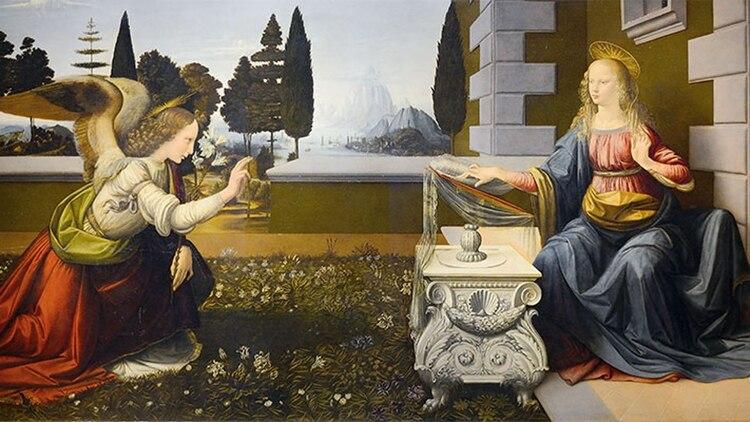 La Anunciación (1472-1475) fue uno de los primeros cuadros de Da Vinci