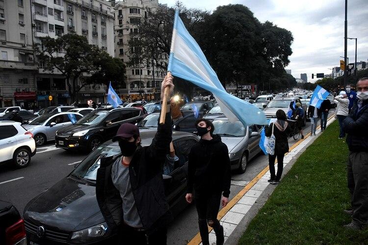 Las marchas contra el gobierno se sintieron con fuerza el 17 de agosto en las inmediaciones del Obelisco (Nicolas Stulberg)