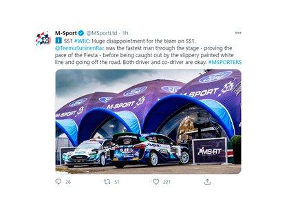 El mensaje oficial del equipo confirmando que los pilotos se encuentran bien