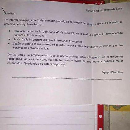 La nota que envió el colegio tras la amenaza