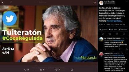 Iván Marulanda invitó a sus seguidores a hacer una 'tuiteratón' para dar a conocer sus motivos para regular la hoja de coca en su producción, comercialización y consumo / (Twitter: @ivanmarulanda).