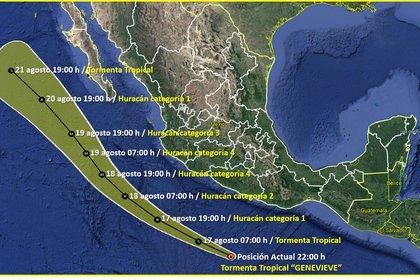 """La tormenta tropical """"Genevieve"""" se formó la tarde de este domingo 16 de agosto (Foto: SMN)"""