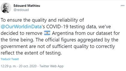 Un analista de datos en Our World in Data comunicó vía Twitter que Argentina dejará de formar parte de su mapa de testeos porque las cifras no tendrían la calidad suficiente