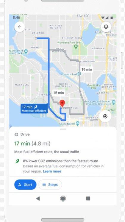 Maps mostrará las rutas más ecológicas