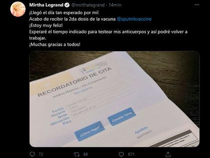 El tweet de Mirtha Legrand anunciando que se aplicó la segunda dosis
