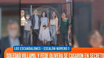 La única foto que se vio, hasta el momento, del casamiento de Soledad Villamil y Federico Olivera (Intrusos)