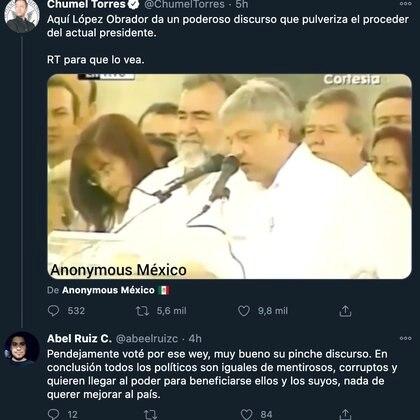 Los cibernautas criticaron a López Obrador, después de que Chumel publicara un tuit (Foto: Twitter@ChumelTorres)