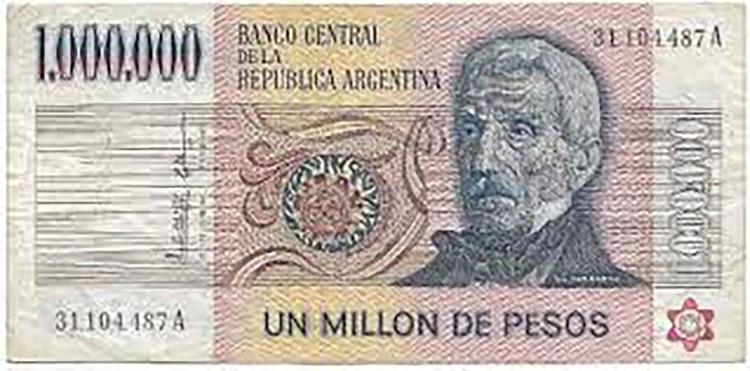 El billete de mayor valor nominal: un millón de pesos ley 18.188