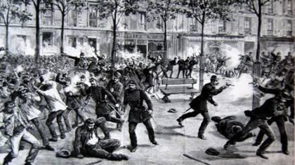 Imagen de la revuelta de Haymarket Square.