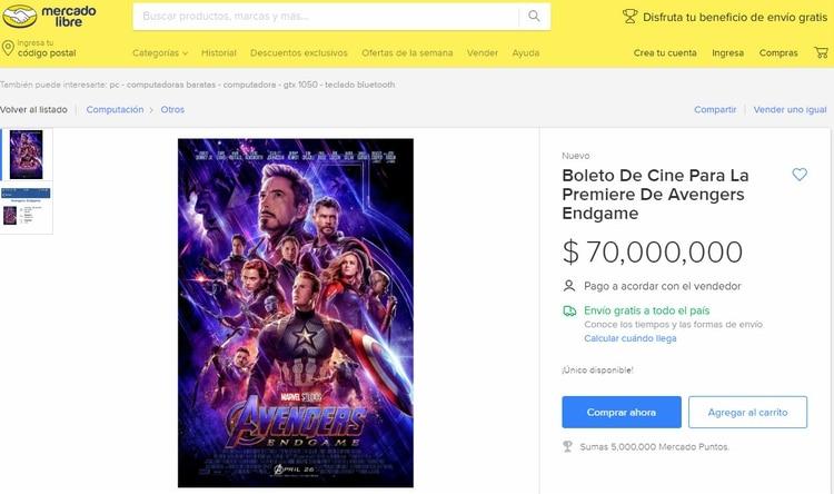 Uno de los vendedores ofertaba un sólo boleto en 70,000 pesos (USD 3.642)