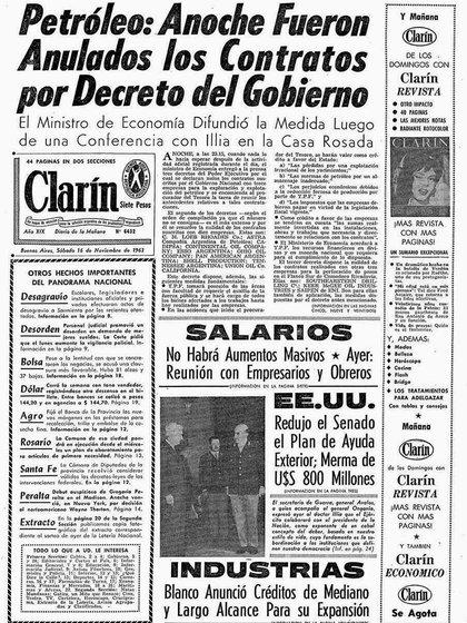 La tapa de Clarín posterior a la firma de los decretos de anulación de los contratos petroleros