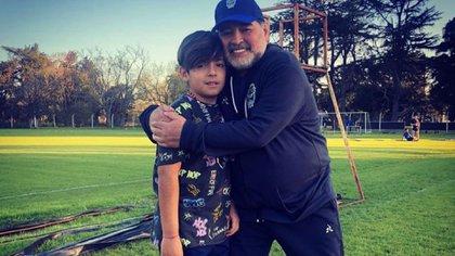Diego Maradona y su nieto mayor, Benjamín