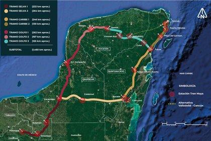 Con una extensión de 1,475 kilómetros y una inversión de unos USD 5,000 millones, el Tren Maya es un proyecto de tren turístico y de carga que pretende recorrer los estados de Quintana Roo, Yucatán, Campeche, Tabasco y Chiapas (Foto: Twitter/TrenMayaMX)