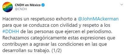 La CNDH reprobó la expresión de Ackerman Roce respecto a comunicadores y periodistas (Foto: Twitter / @CNDH)