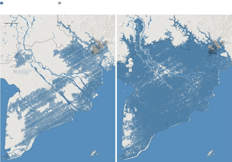 A la izquierda, la proyección que antes utilizaban los científicos sobre el aumento de los mares mostrando lo ocurriría en el 2050 en el sur de Vietnam. A la derecha, la nueva proyección también mostrando lo que ocurrirá en el sur del país asiático para el 2050. (NYTIMES)