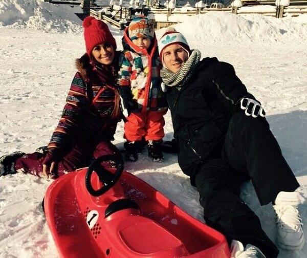 Antonela, Thiago y Messi durante su escapada a Andorra en 2015