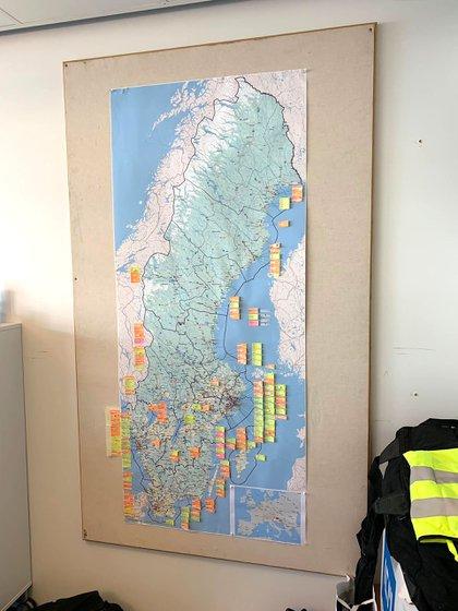 El mapa de Suecia que muestra la ubicación de las víctimas de un pedófilo